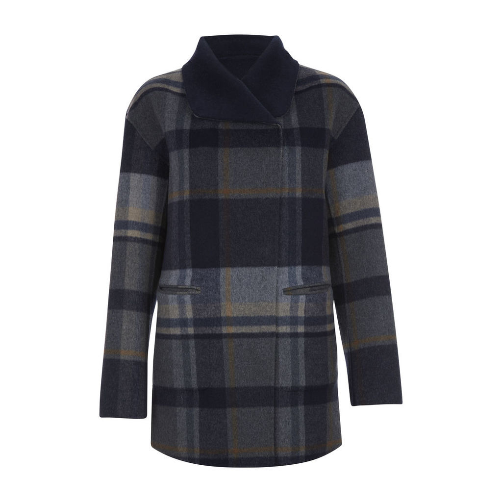 Reversible Double Breasted Check Coat