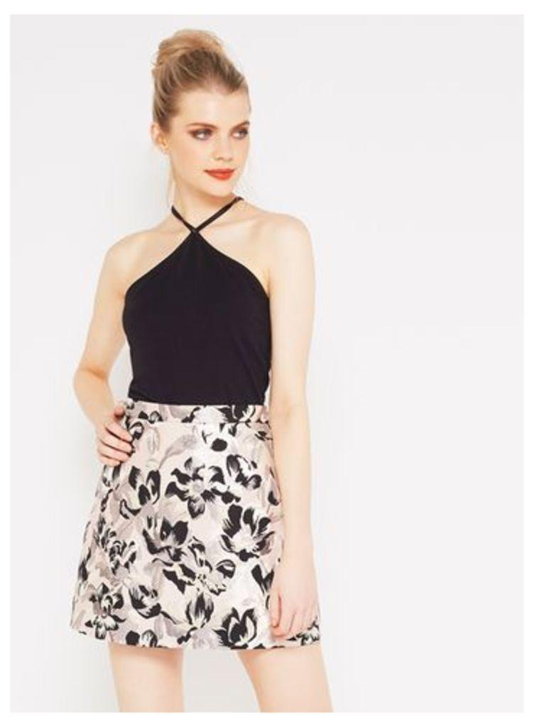 Womens Metallic Floral Jacquard A-Line Skirt, Assorted