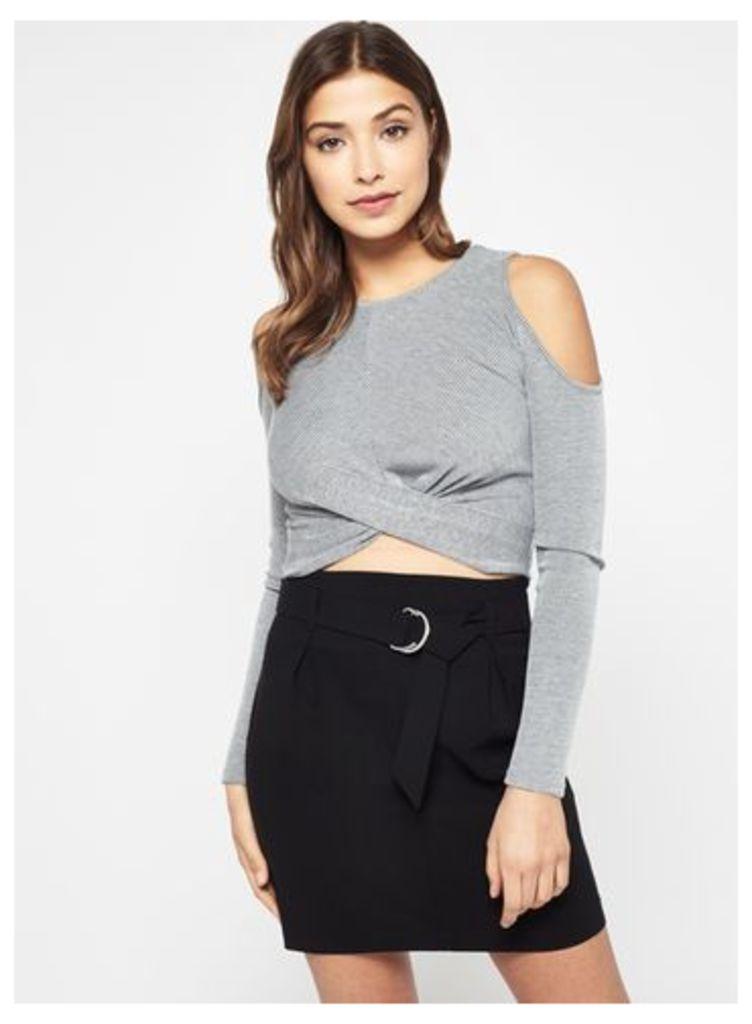Womens Black Belted Mini Skirt, Black