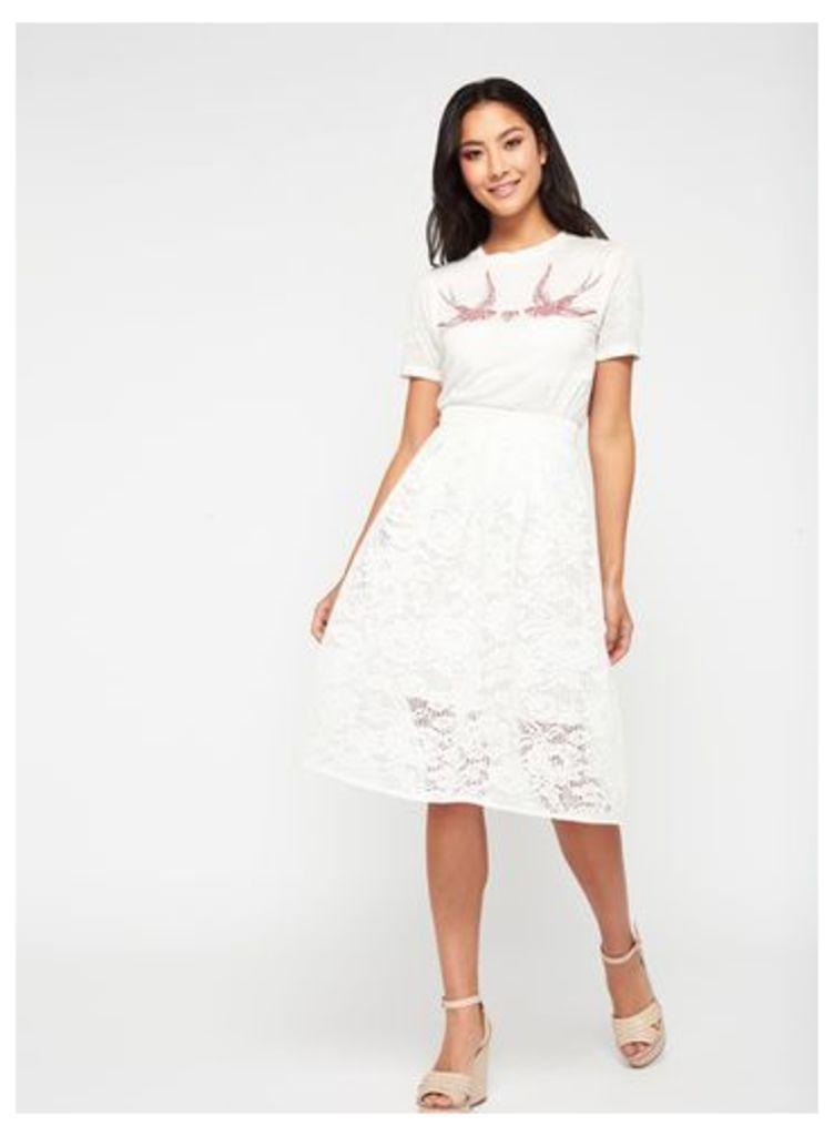 Womens Ivory Lace Prom Midi Skirt, Ivory
