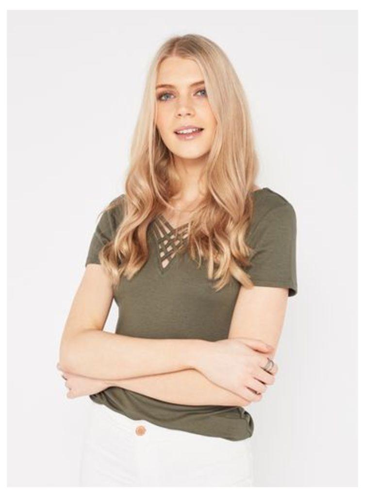 Womens Khaki Lattice Weave Top, Khaki