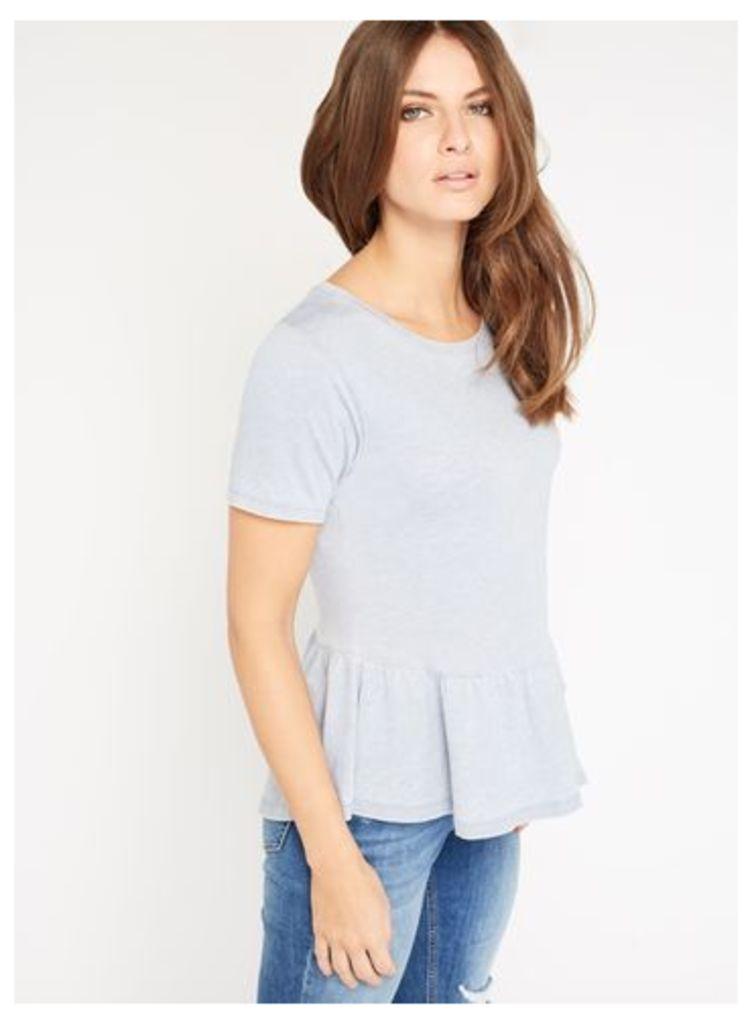Womens Blue Peplum T-Shirt, Blue
