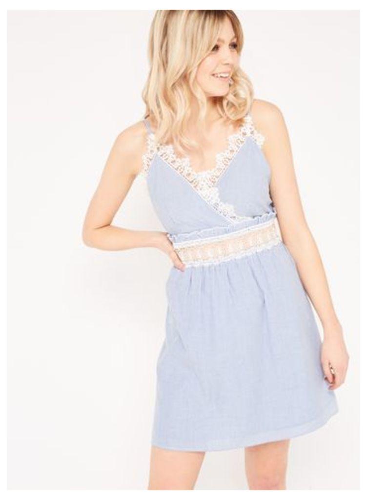 Womens Stripe Lace Sundress, Pale Blue