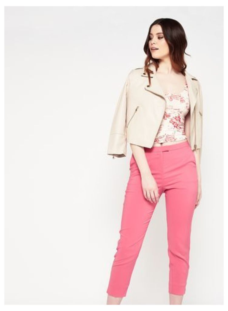 Womens Bright Pink Cigarette Trousers, Pink