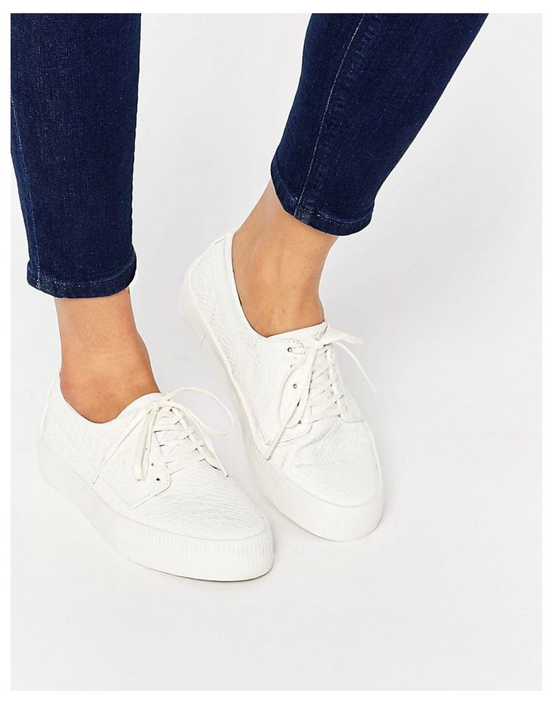 ASOS DRUMMER Snake Lace Up Trainers - White