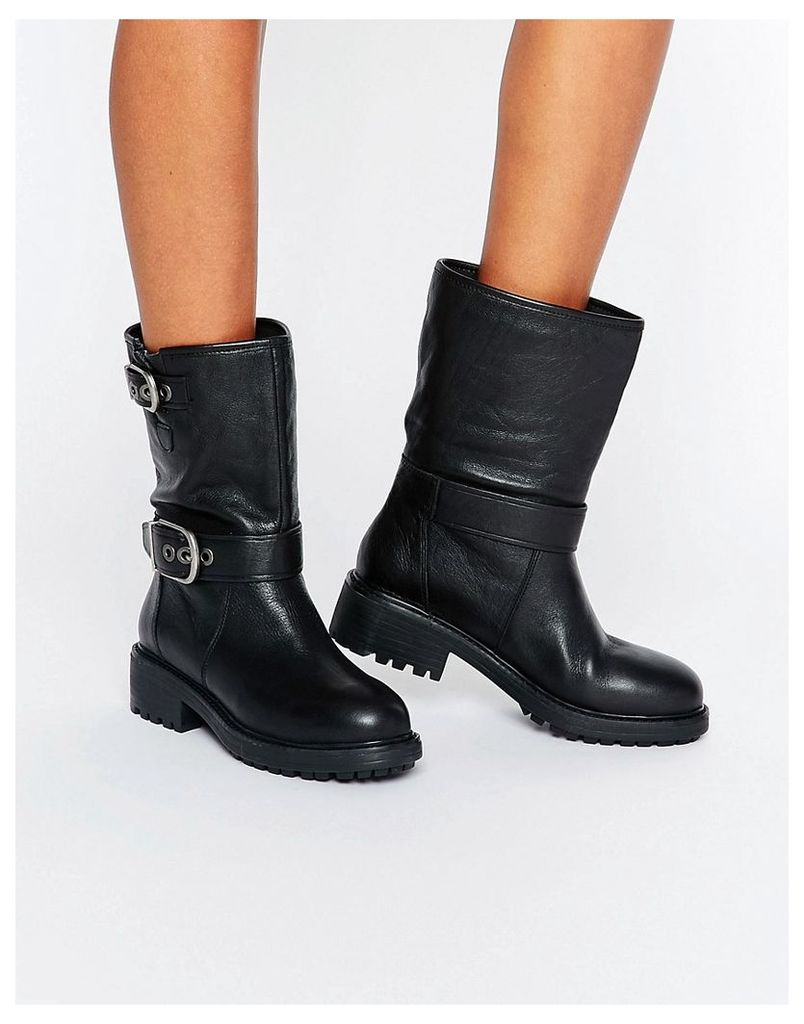ALDO Billi Biker Boot - Black leather