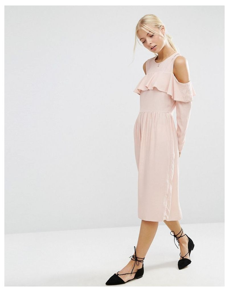ASOS Ruffle Front Cold Shoulder Dress - Nude