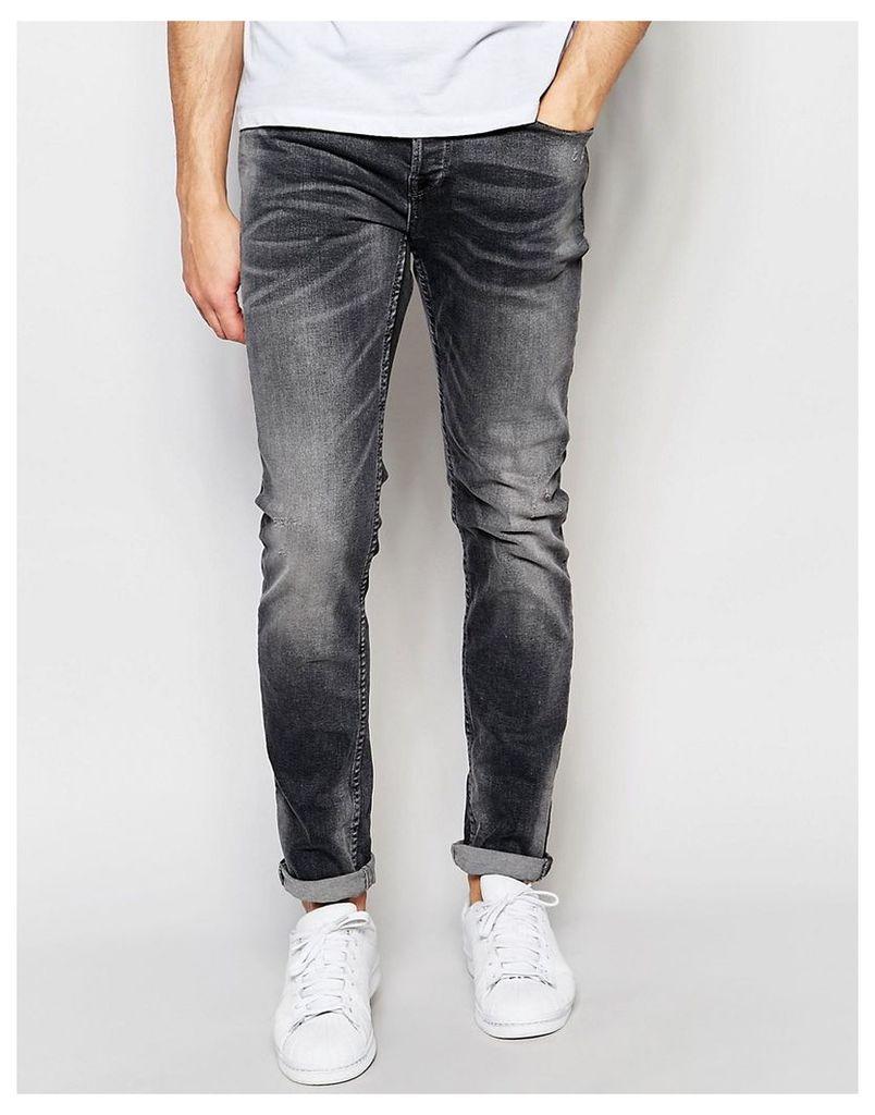 Only & Sons Washed Black Slim Fit Jeans - Washed black