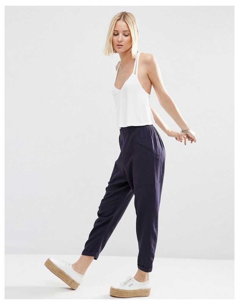 ASOS Patch Pocket Peg Trousers - Navy