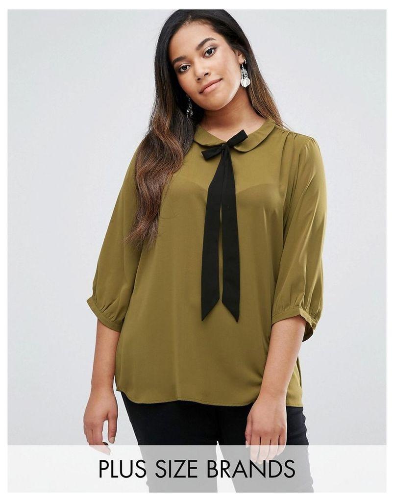 Junarose Pussybow Woven Top - Green