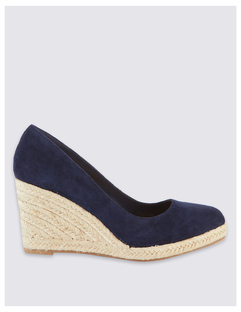 M&S Collection Leather Wedge Heel Almond Toe Espadrilles
