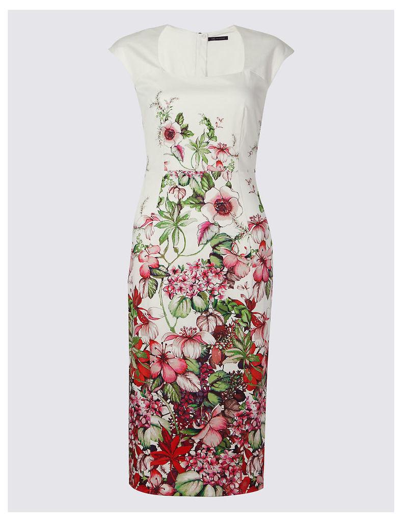 M&S Collection Cotton Rich Floral Print Bodycon Dress