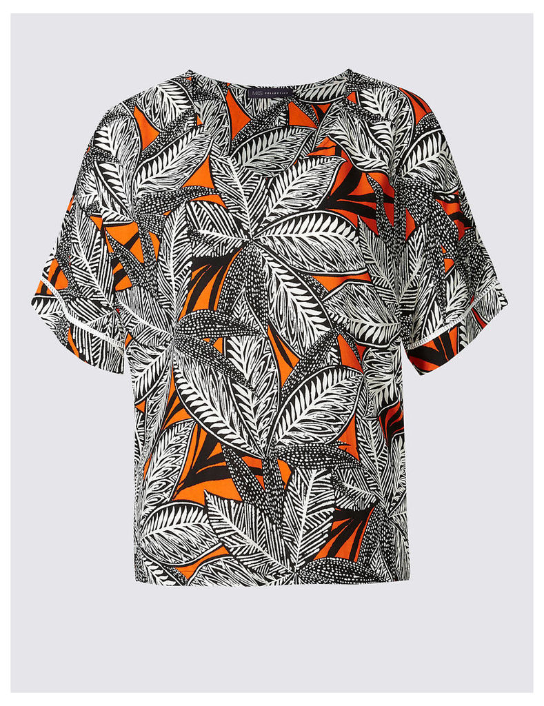 M&S Collection PLUS Leaf Print Short Sleeve Shell Top
