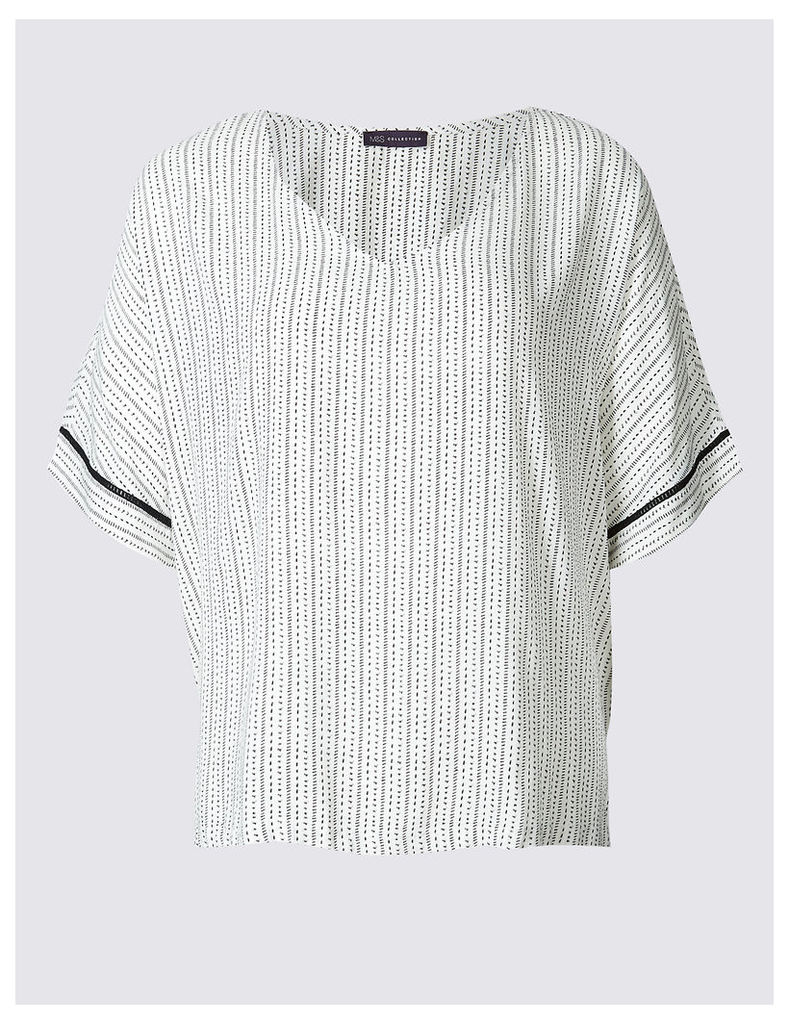 M&S Collection PLUS Linear Dot Print Shell Top