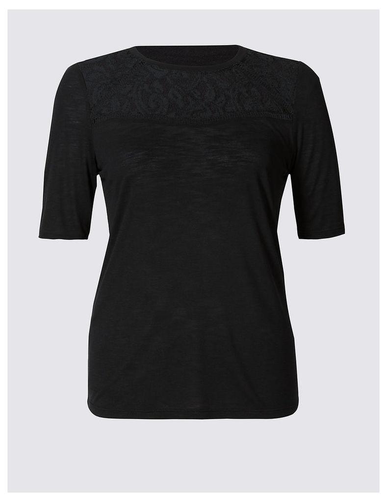 Per Una Geometric Lace Panel Half Sleeve Jersey Top