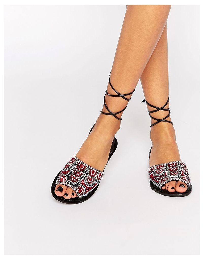 ASOS FRIENDSHIP Tie Leg Leather Sandals - Burg mix
