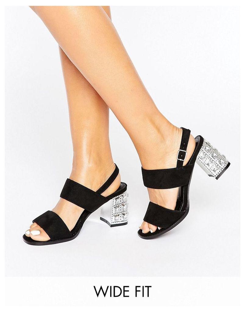 New Look Wide Fit Gem Block Heel - Black