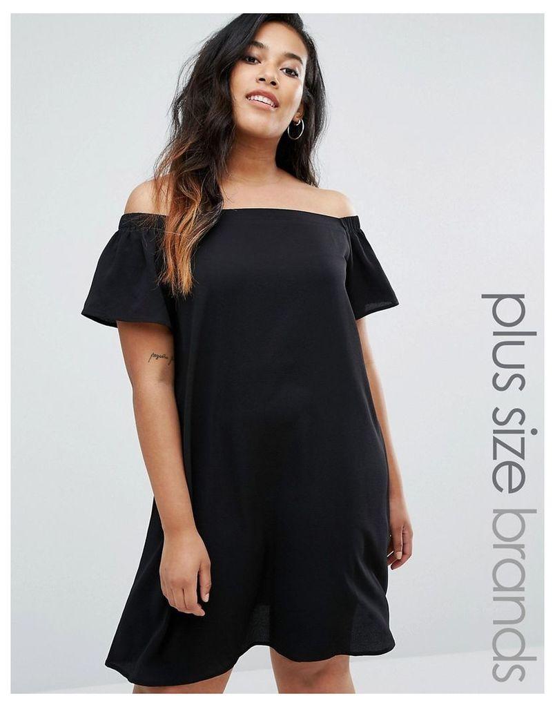 New Look Plus Off The Shouder Crepe Dress - Black