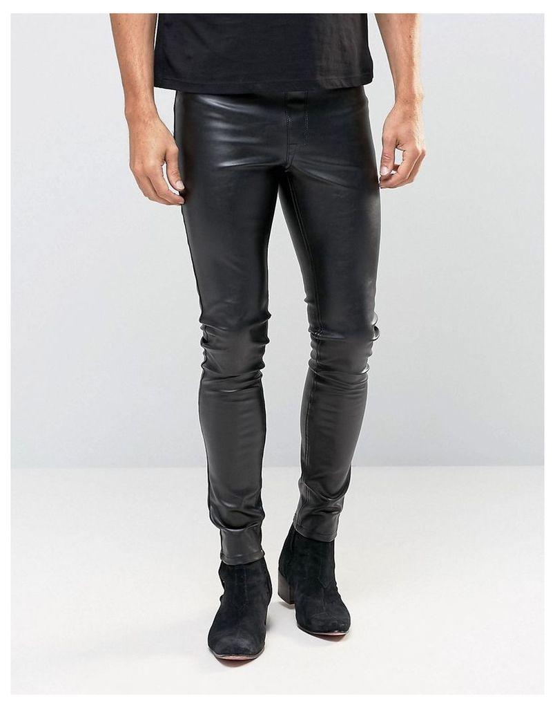 ASOS Meggings In Faux Leather - Black