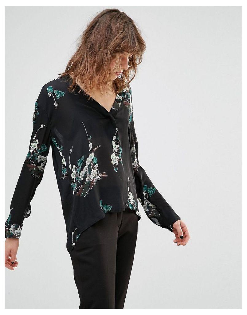 Samsoe & Samsoe Wad Black Blossom Print Shirt - Black