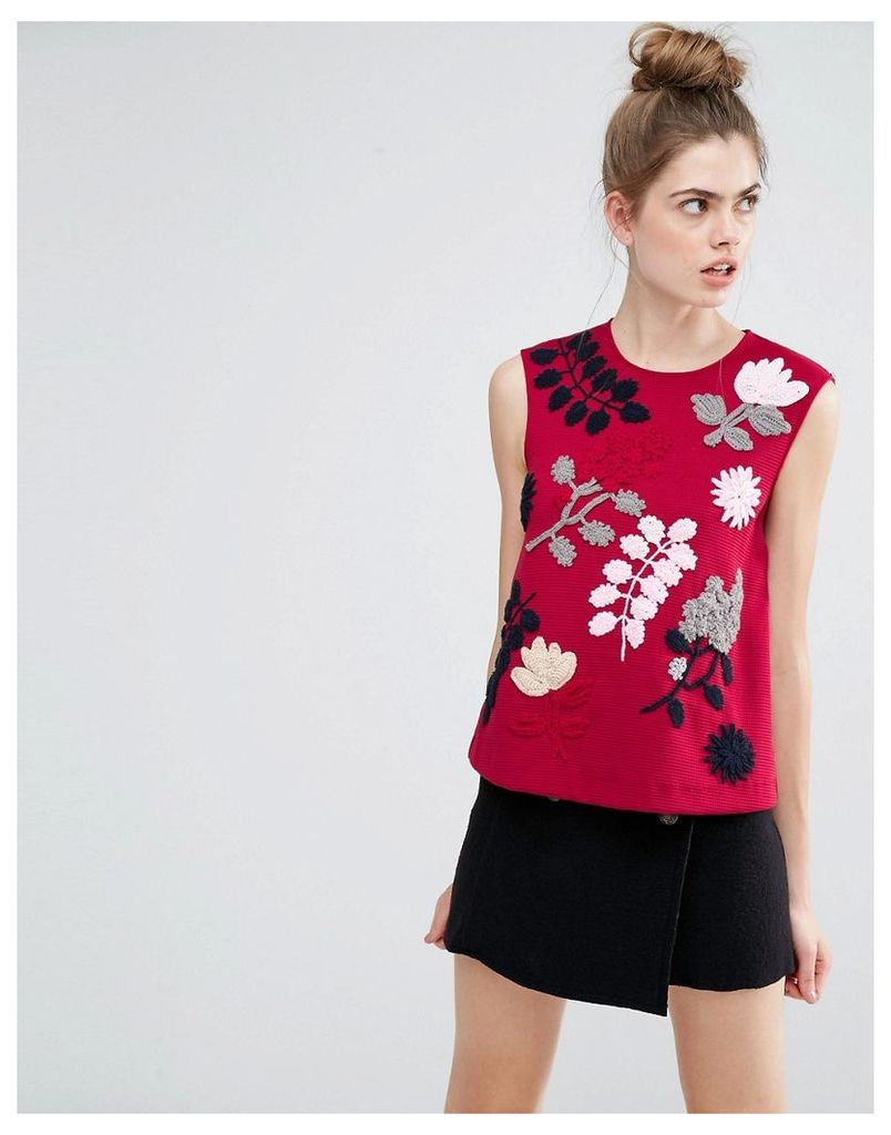 Sportmax Code Fiacre Embroidery Detail Sleeveless Top - Bordeaux