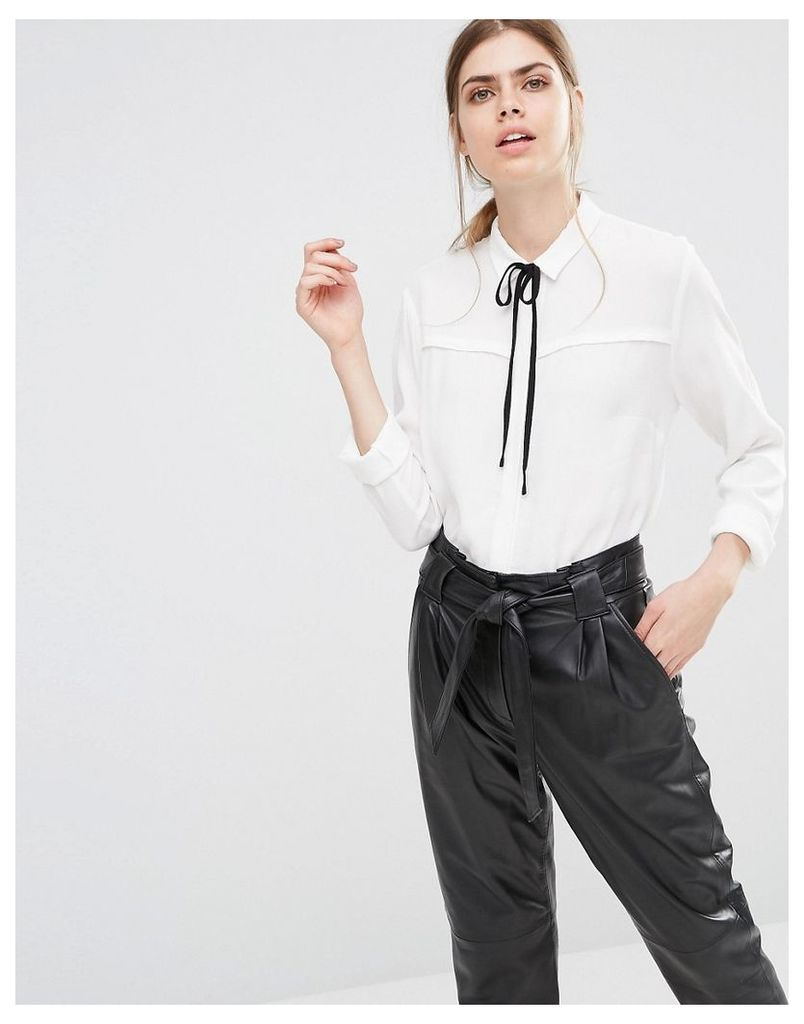 Just Female Barbro Shirt with Neck Tie - White