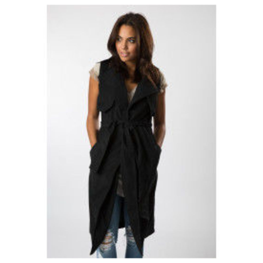 Fashion Union Faux Suede Sleeveless Trench Coat