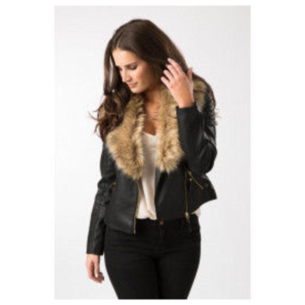 Fashion Union Fur Collar Faux Leather Jacket