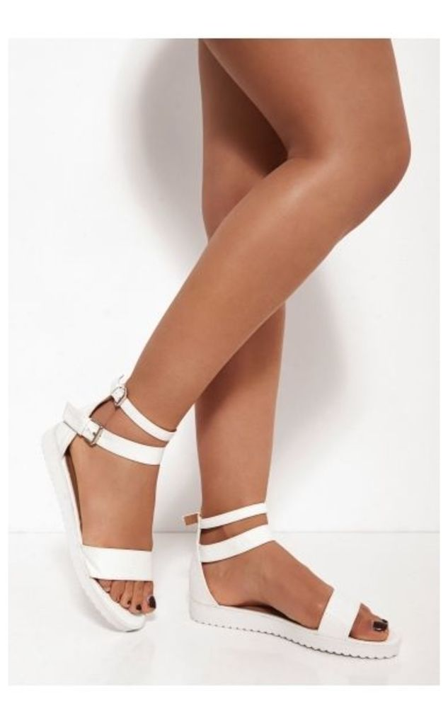 Mimi White Snakeskin Sandals