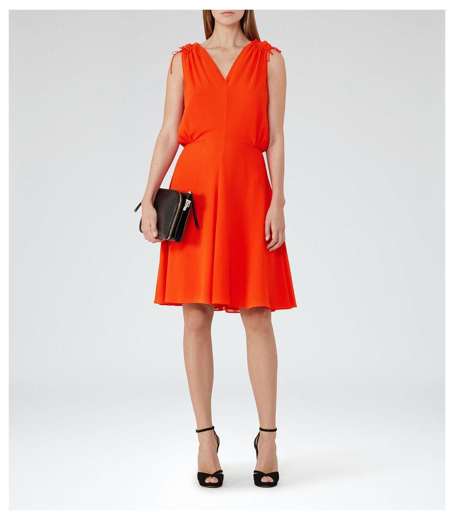 REISS Stellie - Womens Ruffle-shoulder Dress in Red