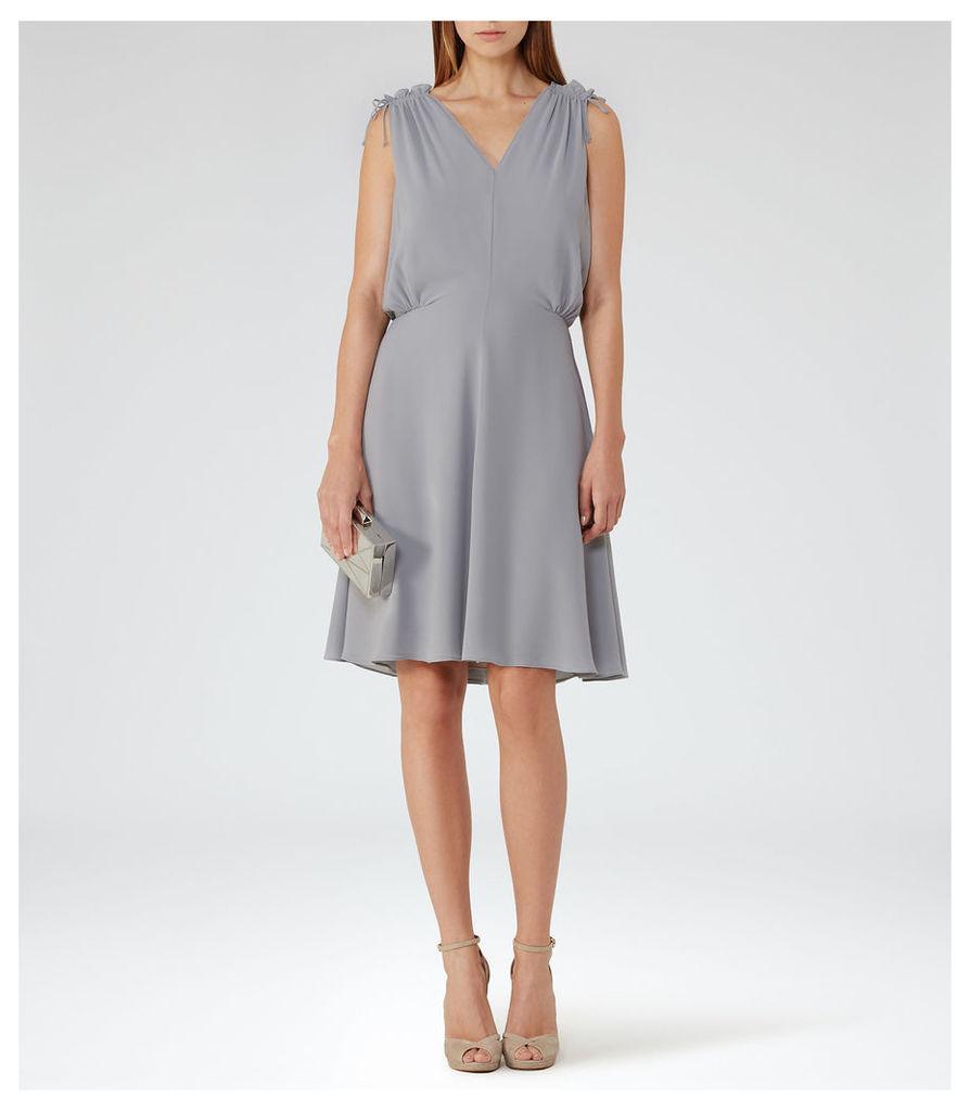REISS Stellie - Womens Ruffle-shoulder Dress in Grey