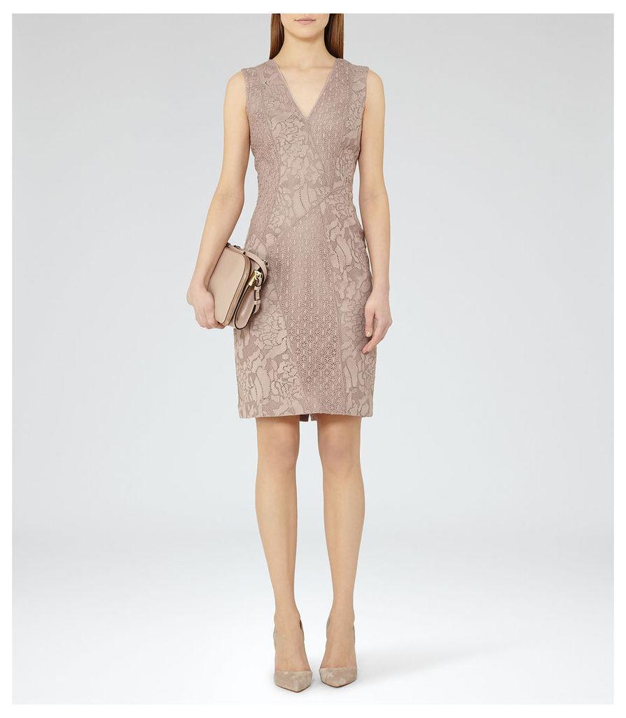 REISS Romy - Womens Lace Bodycon Dress in Grey
