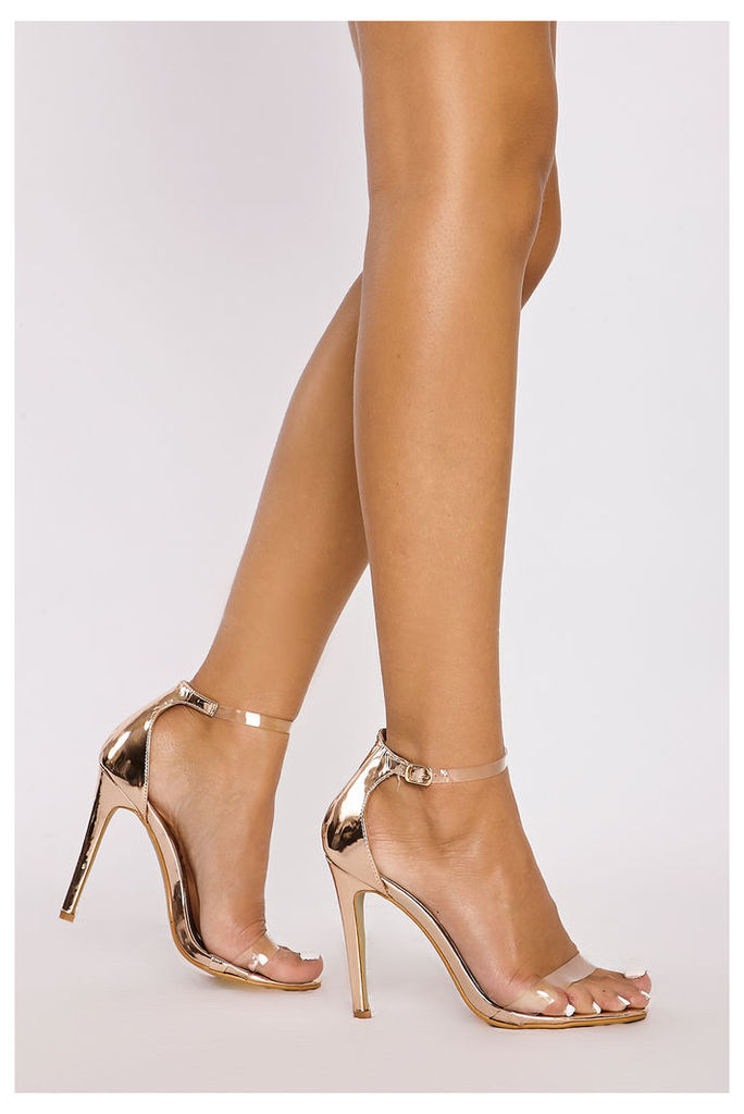 Rose/gold Heels - Carley Rose Gold Chrome Clear Strap Heels