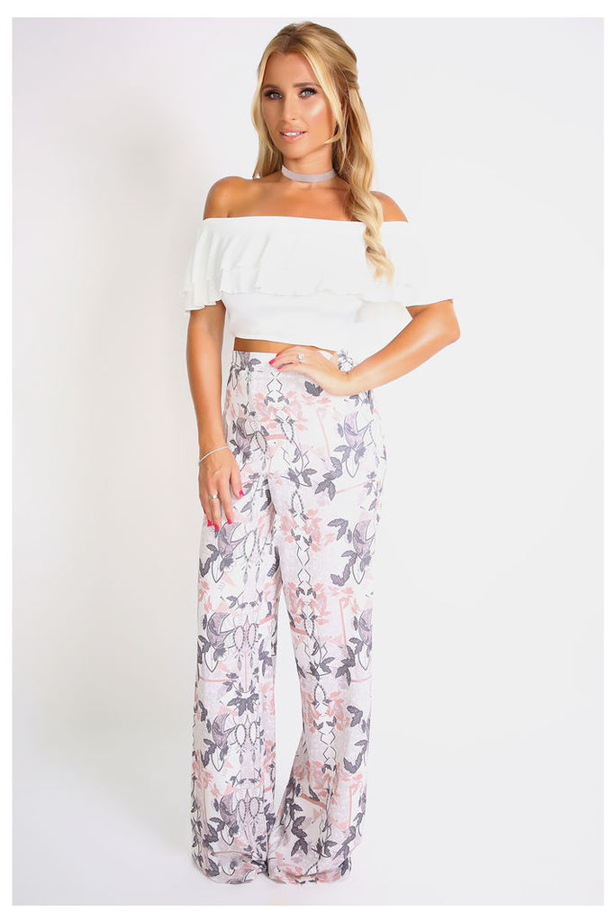 White/pink Pants - Billie Faiers Floral Geo Print High Waisted Palazzo Pants