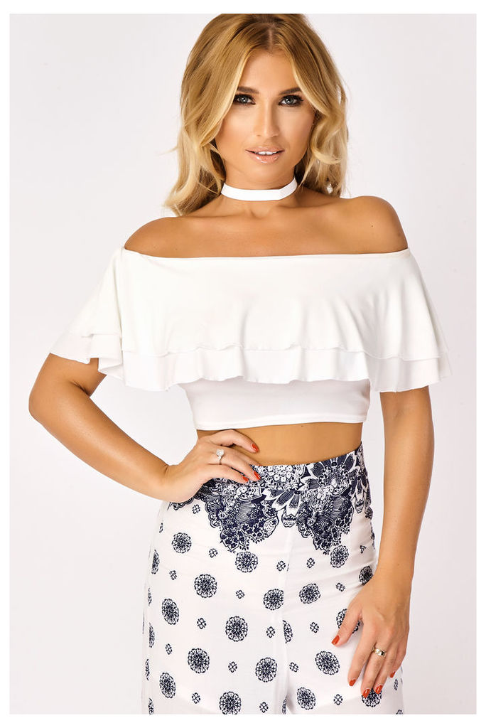 White Tops - Billie Faiers White Slinky Frill Bardot Top