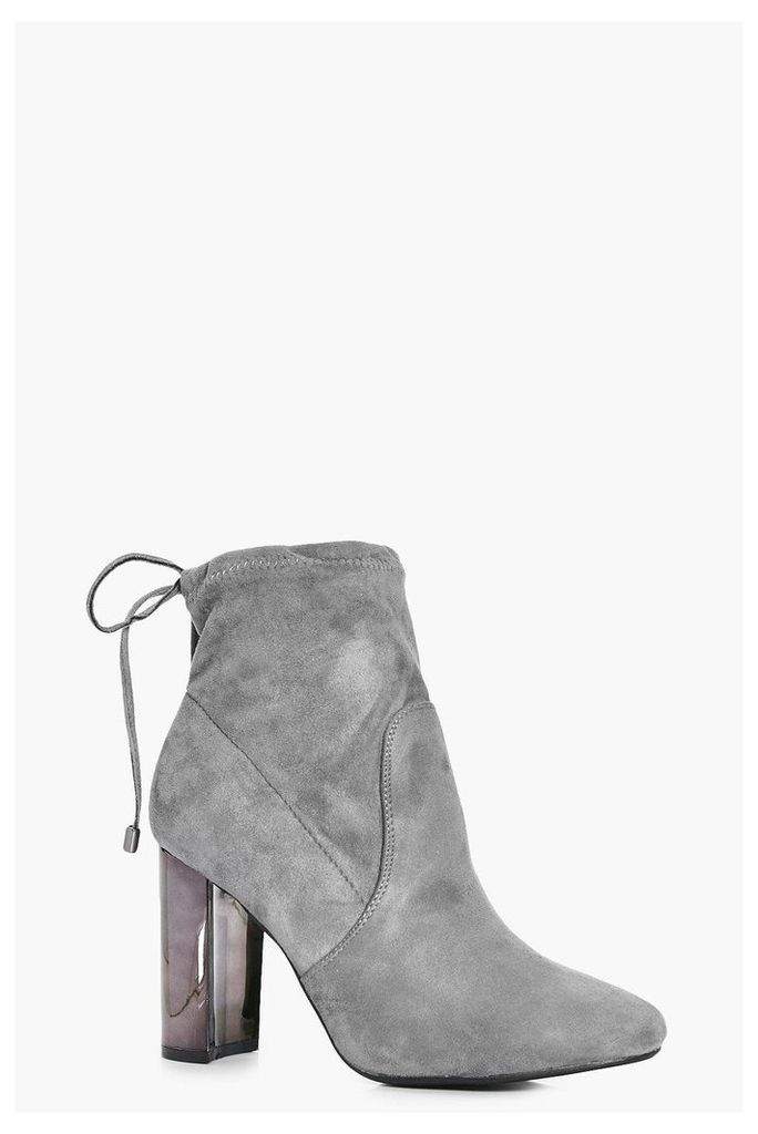 Mirror Metallic Block Heel Sock Boot - grey