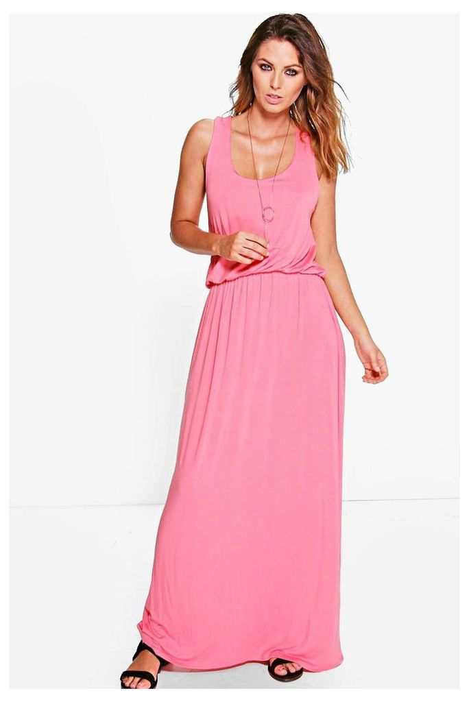 Basic Racer Back Maxi Dress - sugar-coral