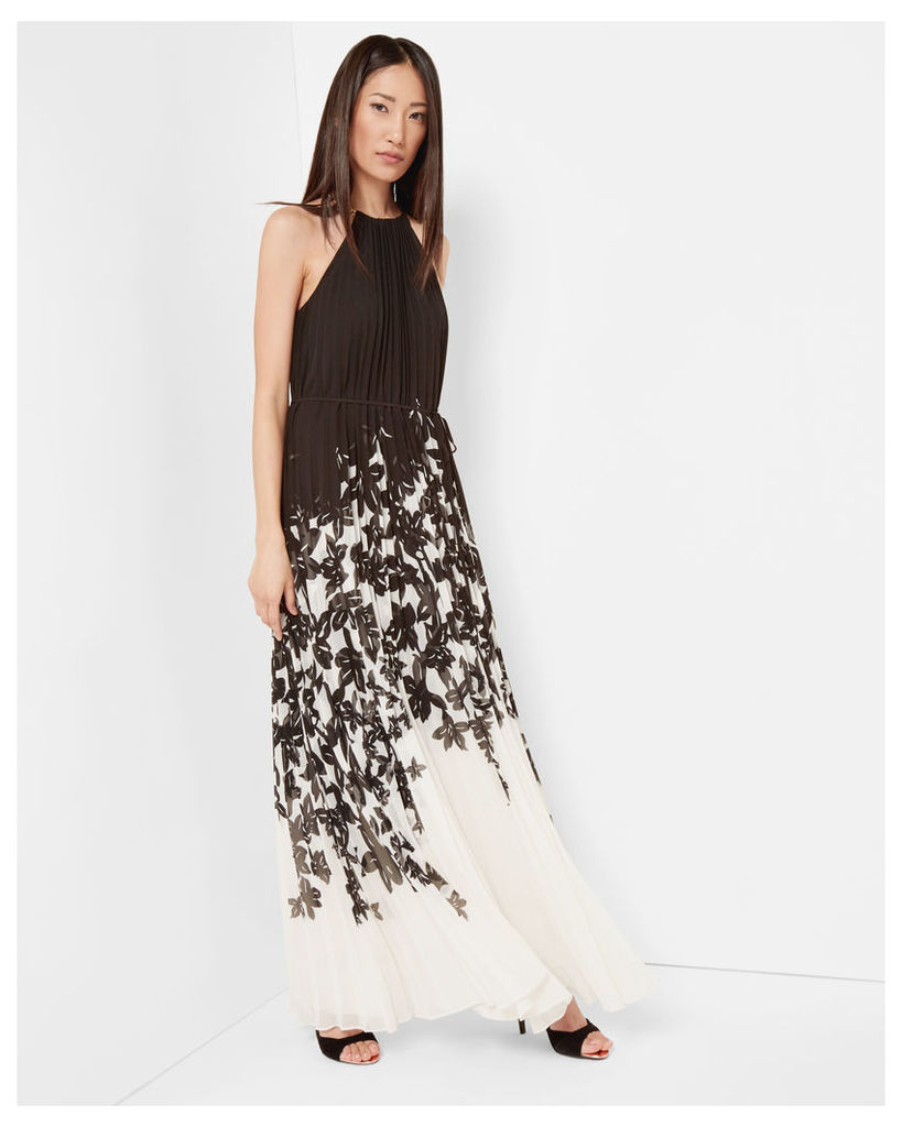 Ted Baker Floral print pleated maxi dress Black