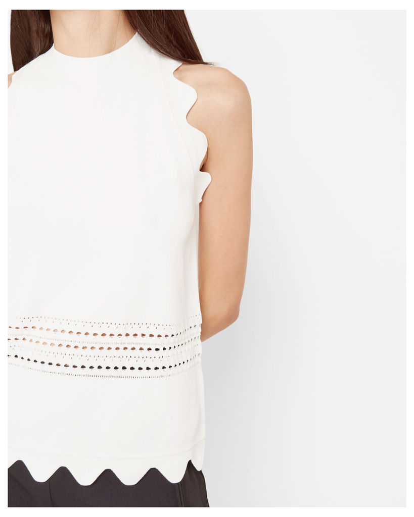 Ted Baker Scallop detail ribbed top White