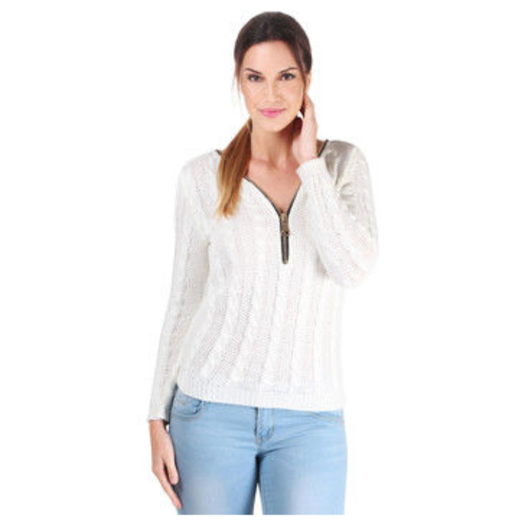 Krisp  Cable Knit Zip Front Jumper  women's Sweater in White