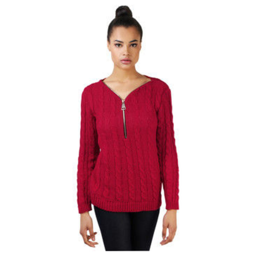 Krisp  Cable Knitted Zip Jumper  women's Sweater in Red