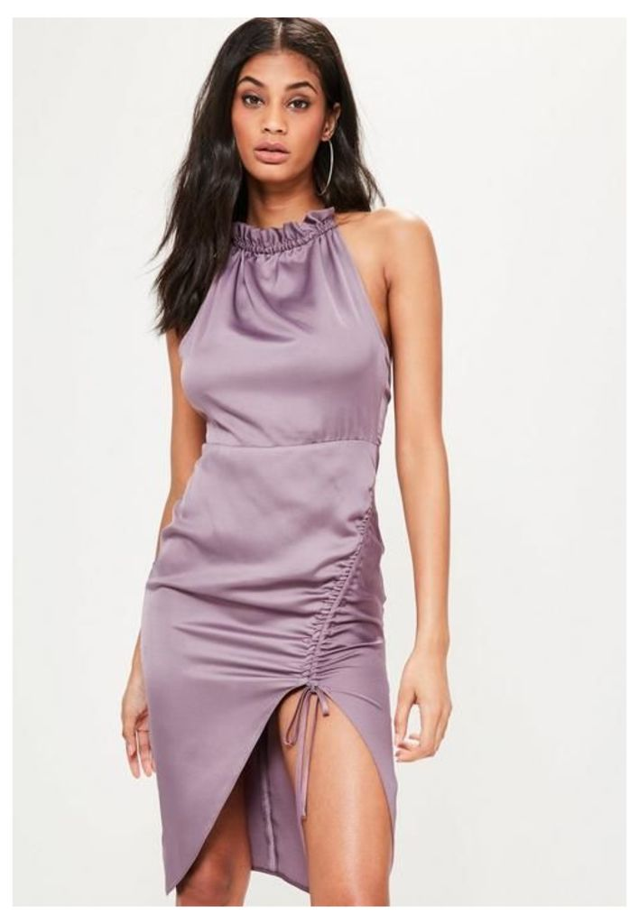 Purple Silky Ruched Midi Dress, Mauve