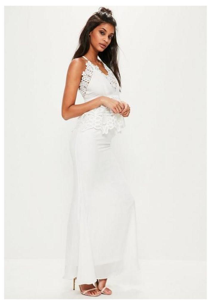 White Lace Peplum Maxi Dress, White