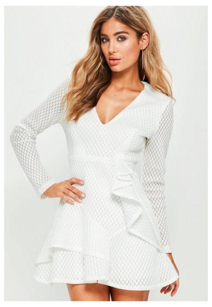 White Air Tex Plunge Ruffle Skater Dress, White