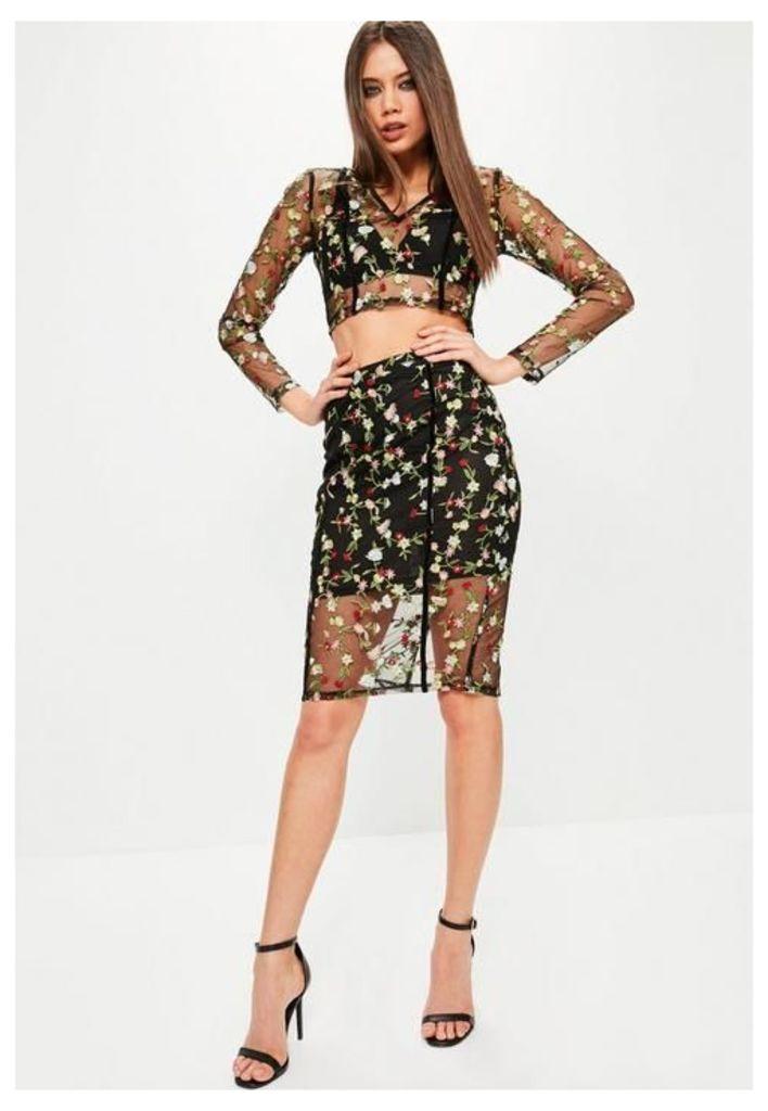 Premium Black Floral Mesh Embroidered Midi Skirt, Black