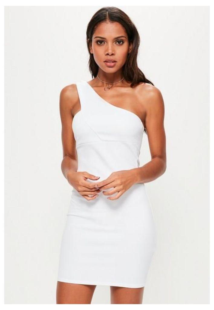 Tall White One Shoulder Strap Detail Bodycon Dress, White