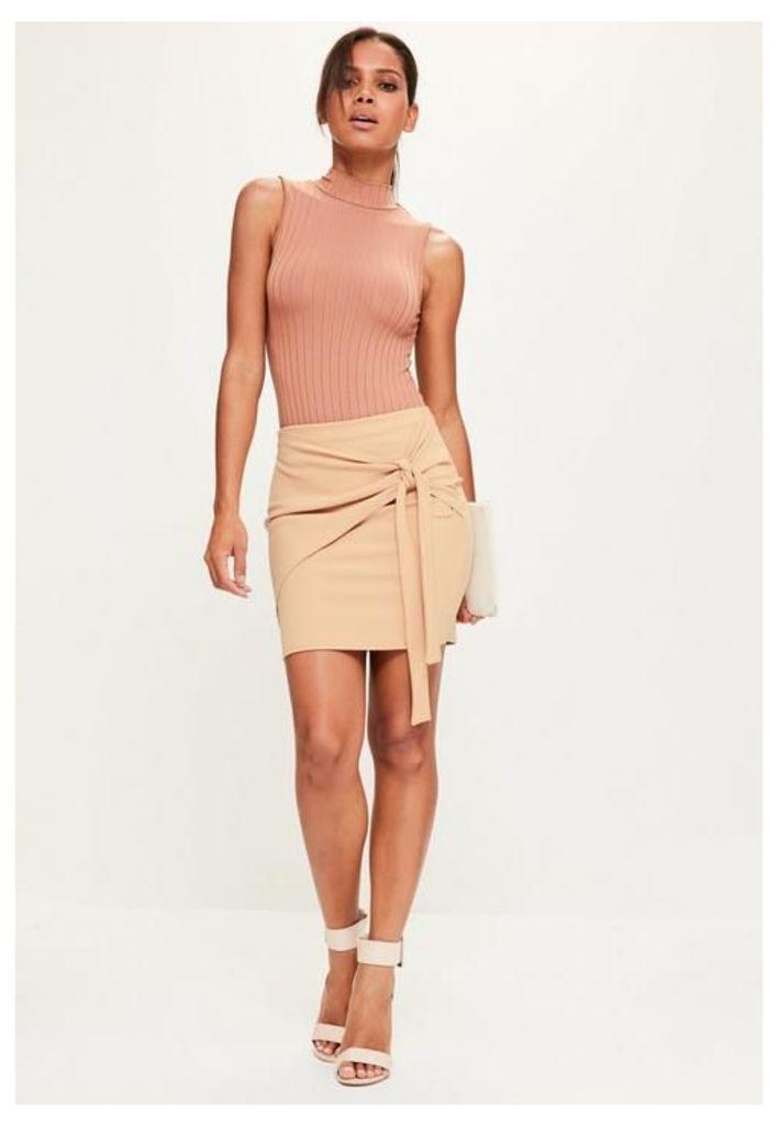 Petite Nude Jersey Crepe Tie Front Mini Skirt, Beige