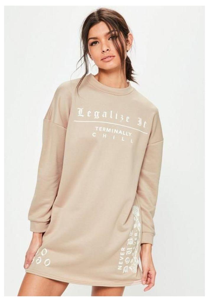 Petite Nude Slogan Oversized Sweater Dress, Beige