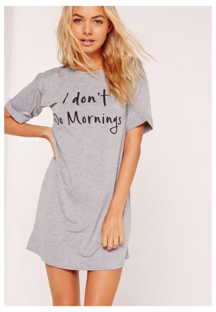 Grey I Don't Do Mornings Night T-Shirt, Grey