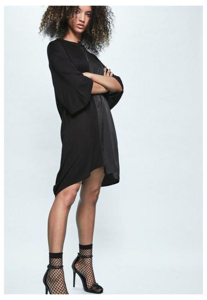 Londunn + Missguided Black Spliced Satin Jersey T-shirt Dress, Black